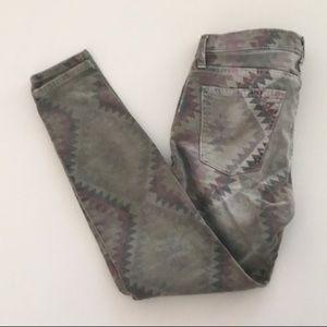Current/Elliot Army Green Navajo stiletto jeans 25
